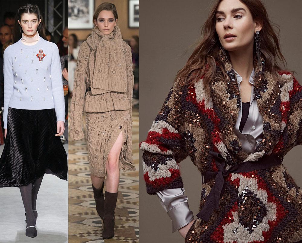 Вязаные платья и другая женская одежда из трикотажа 2018 - 2019