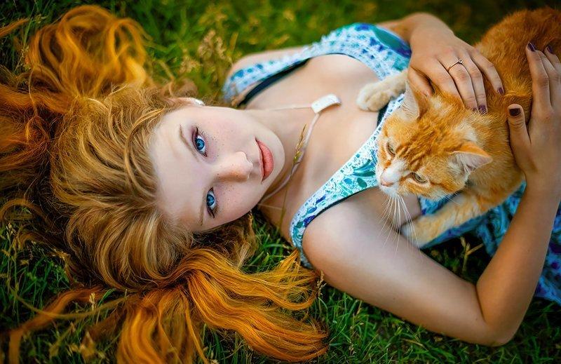 Рыжие парочки девушки, кошки, рыжие