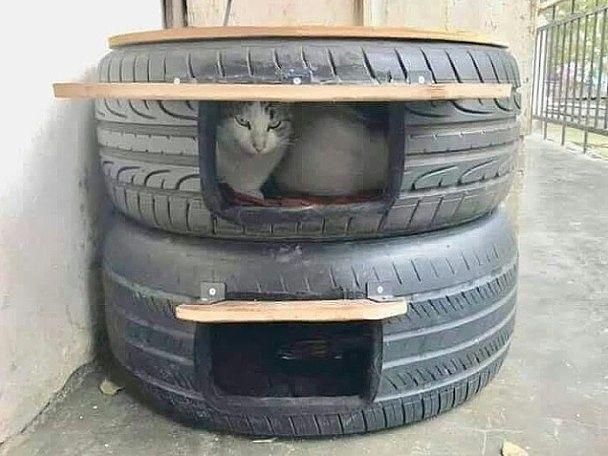 Домик для уличных котов из старых шин - укроет от дождя, ветра и невзгод. Как Вам идея?