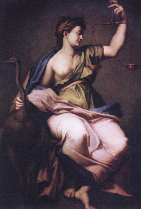 Божеством правосудия тоже была дама, Фемида, и ей помогала дочь, богиня правды Дике. Портрет Фемиды от Антона Лосенко.