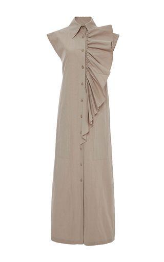 Платье с рюшем