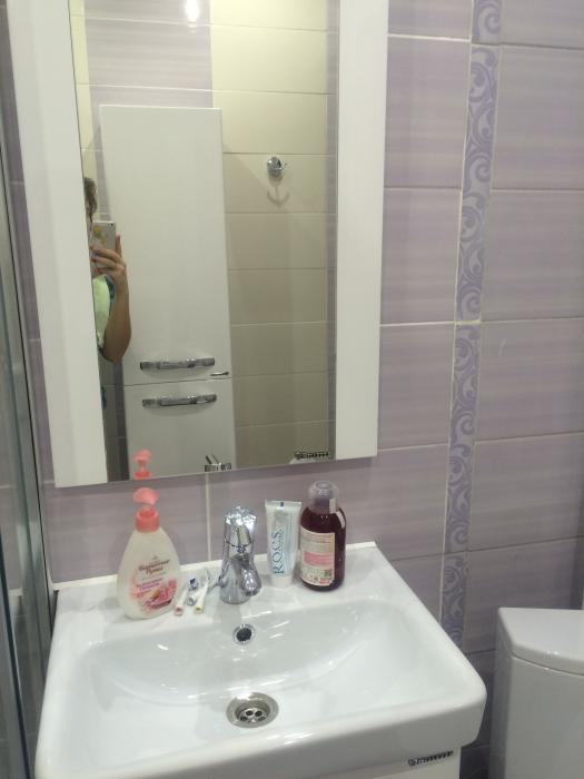 Ремонт санузла фото, маленький санузел, совмещенный санузел, фиолетовая ванная комната фото, раковина подвесная тумба