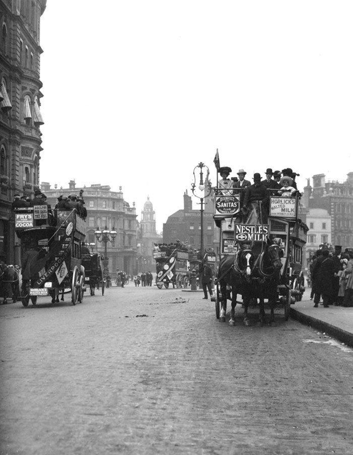 Омнибусы в Лондоне ХХ век, винтаж, восстановленные фотографии, европа, кусочки истории, путешествия, старые снимки, фото