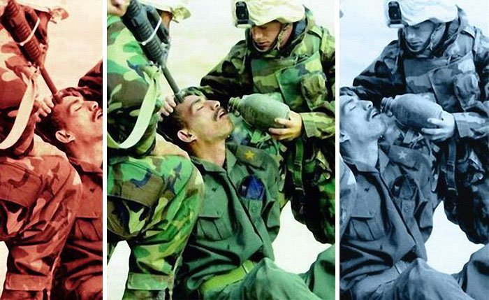 Американские морские пехотинцы из 15 экспедиционного корпуса поят иракского солдата 21 марта 2003 года media, все дело в фокусе, манипулирование, новости наша профессия, познавательно, с какой стороны посмотреть, сми, фотографии