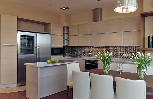 оттенок бежевого цвета в дизайне фасада кухни