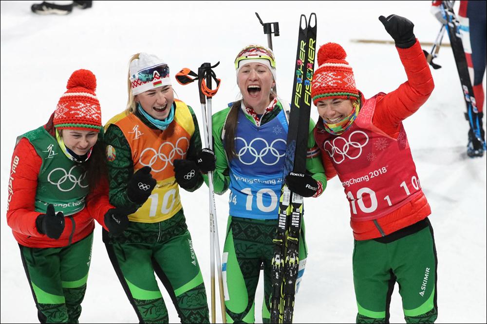 Белорусские биатлонистки выиграли золото Олимпиады в эстафете