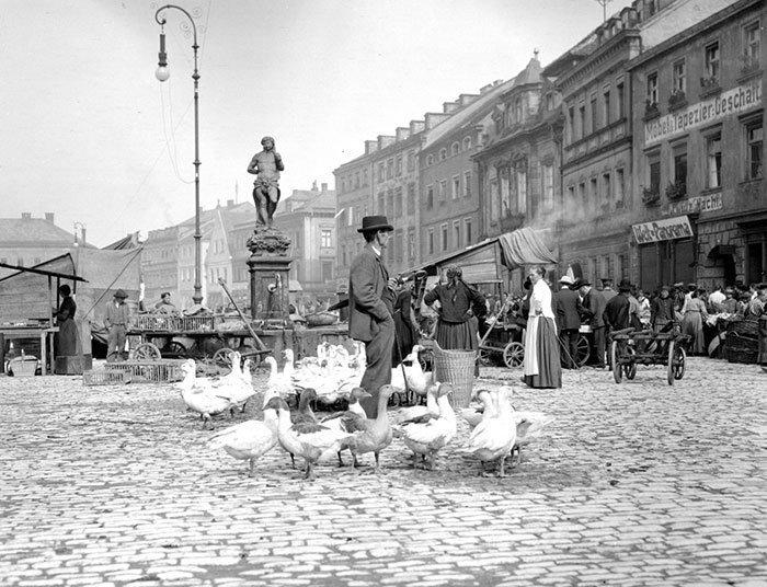 Рынок в Байройте, Германия ХХ век, винтаж, восстановленные фотографии, европа, кусочки истории, путешествия, старые снимки, фото