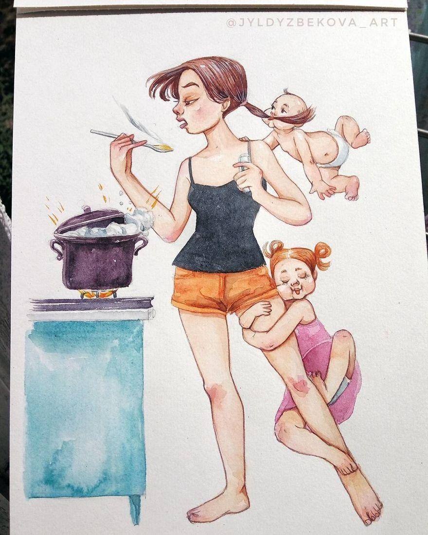 Смешные картинки мамы с детьми, изюминкой про элегантных