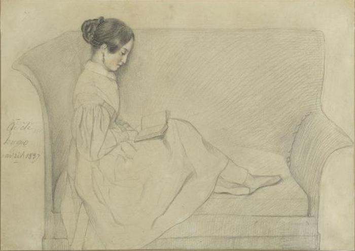 Леопольдина читает. Рисунок Адели Фуше