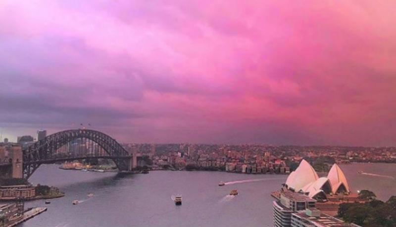 Сидней в розовых тонах: перед штормом небо над городом окрасилось в розовый, и Instagram сошел с ума