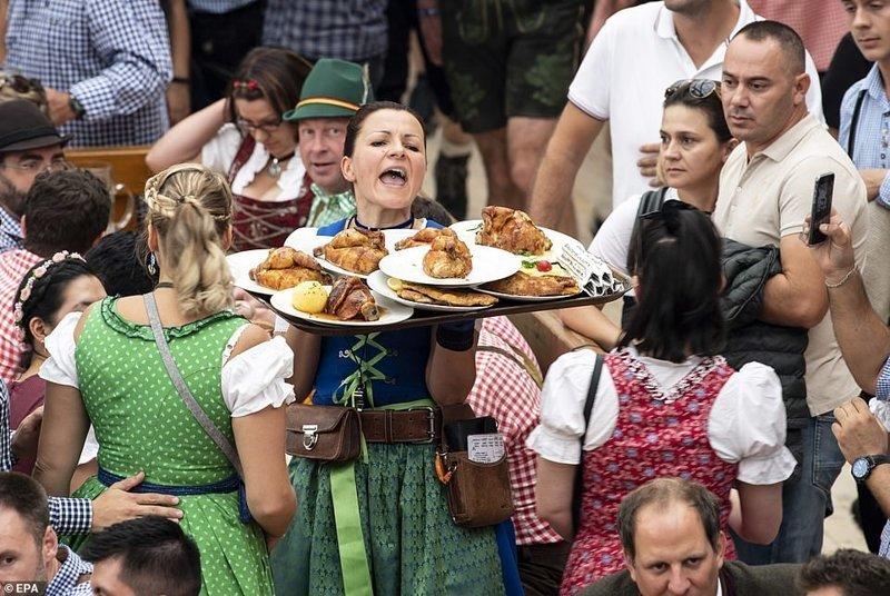 Кстати, тут не только пиво наливают, но и еще и кормят ynews, бавария, гуляния, мюнхен, октоберфест, октоберфест 2018, пивной фестиваль, пиво