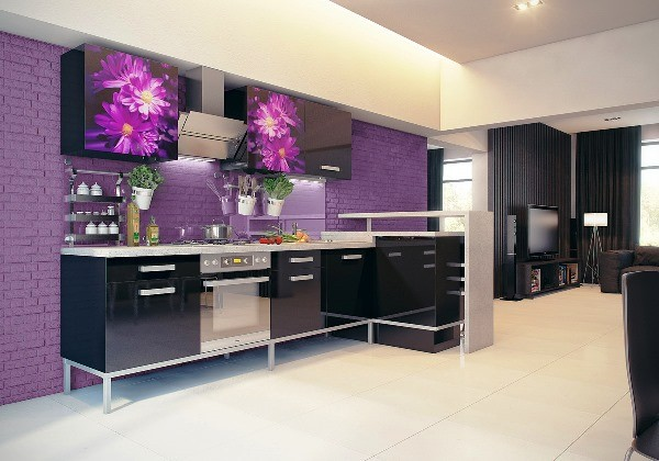 фасад кухни чёрного цвета глянцевый с фотопечатью цветы