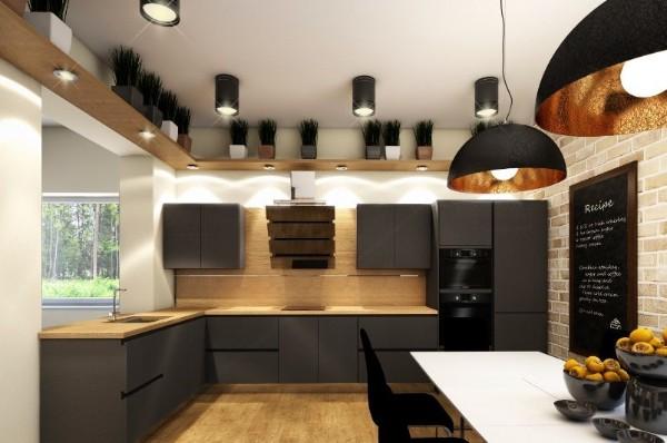 фасад кухни коричневого цвета лофтовый дизайн
