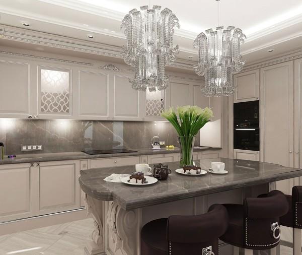 фасад кухни цвета шампань