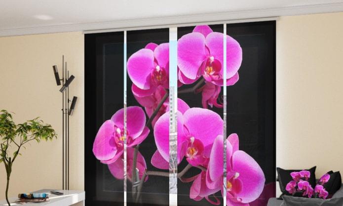 японские шторы с изображением орхидеи