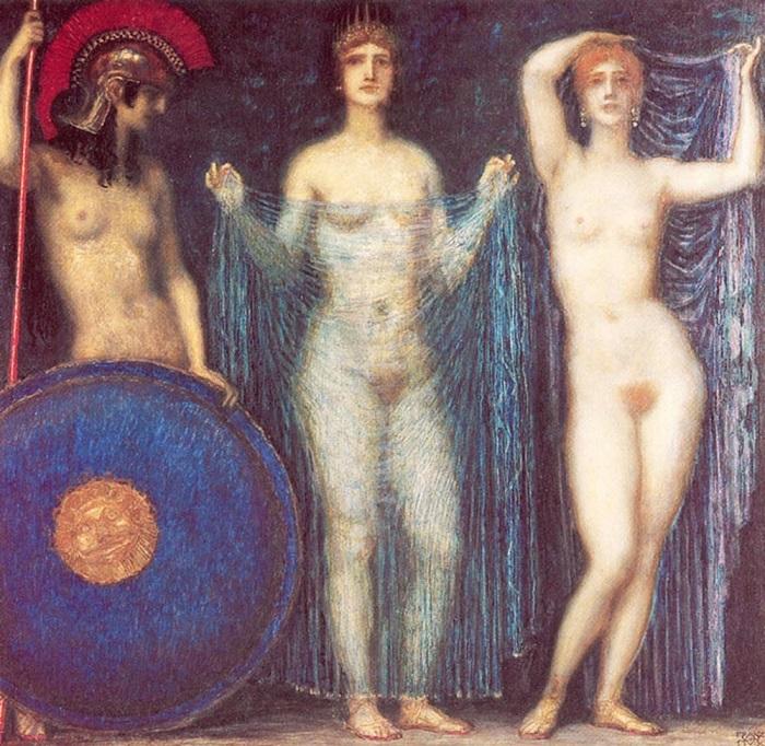 Богини Афина, Гера и Афродита перед Парисом. Каждая из них по-своему покровительствовала греческой женщине. Картина Франца фон Штука.