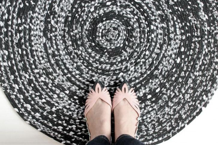 как сделать круглый плетеный коврик