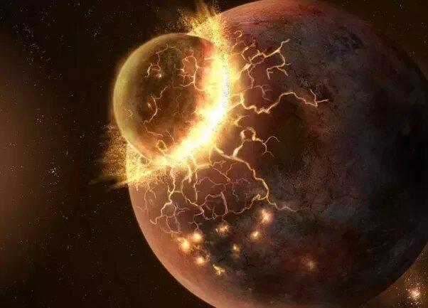 Столкновение планет в представлении художника