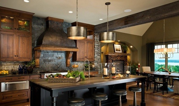 тёмно-коричневый цвет дерева в дизайне фасада кухни