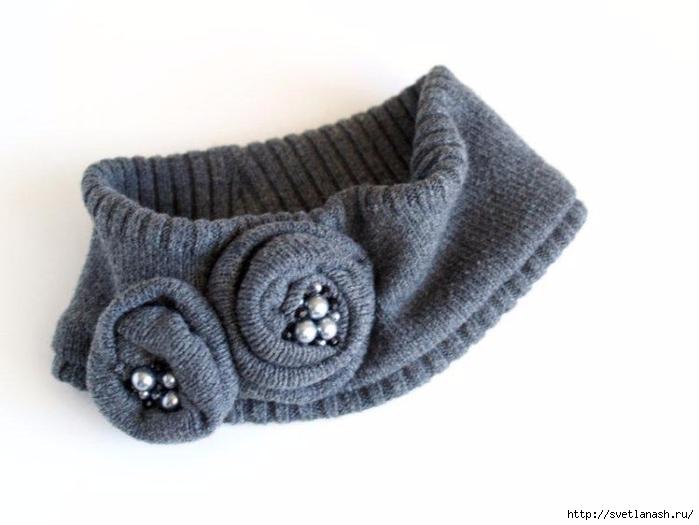 Теплая  повязка на голову из старого свитера