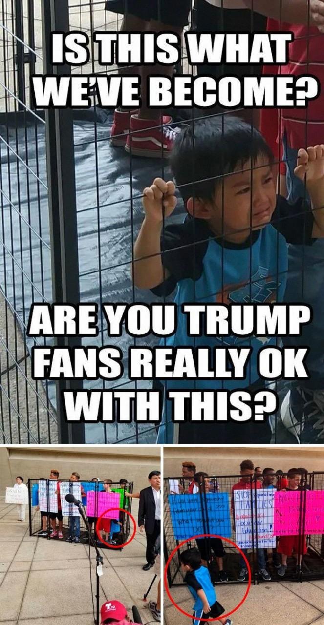 Протестующие против иммиграционной политики Трампа возмущаются фотографией ребенка, запертого за решеткой... media, все дело в фокусе, манипулирование, новости наша профессия, познавательно, с какой стороны посмотреть, сми, фотографии