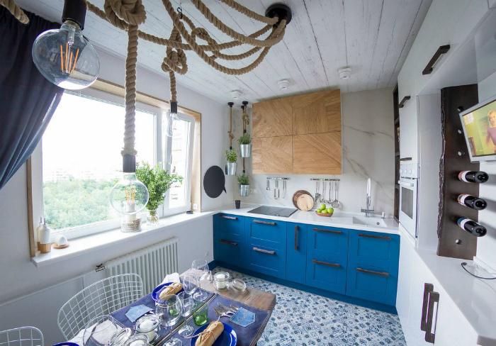 Кухня в морском стиле.