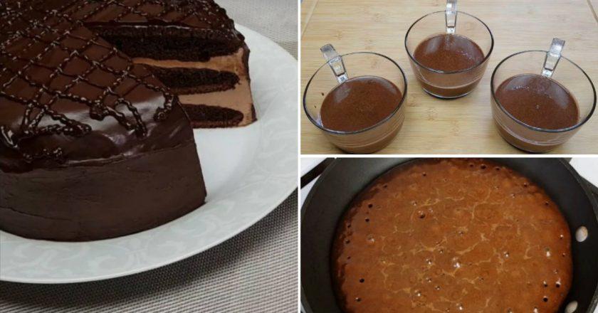 Домашний торт «Прага» на сковороде десерты,сладкая выпечка,торты