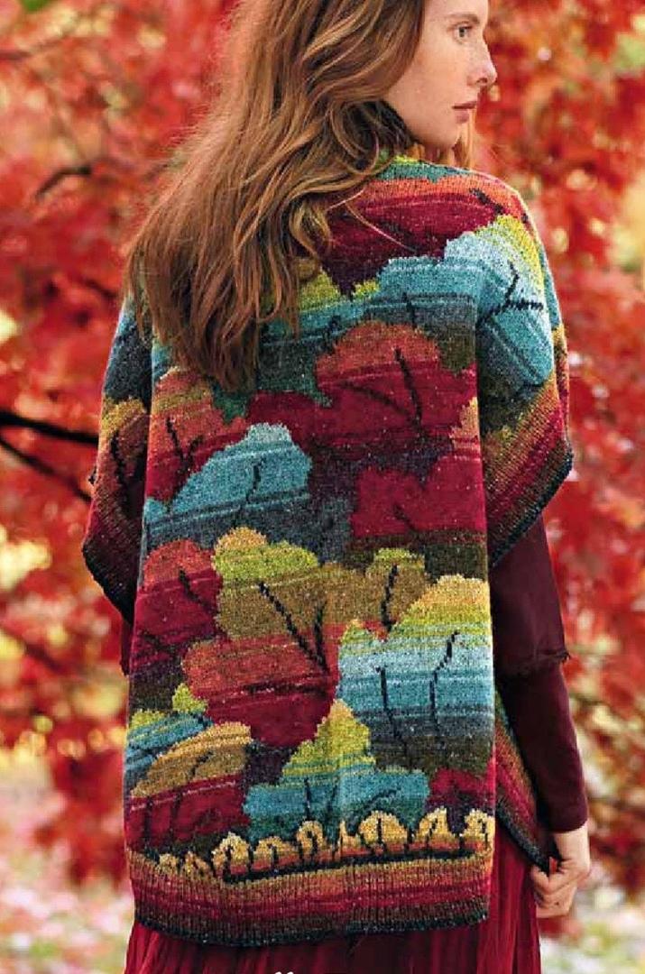 Жаккардовый кардиган с осенними листьями вязание спицами,одежда,рукоделие,своими руками