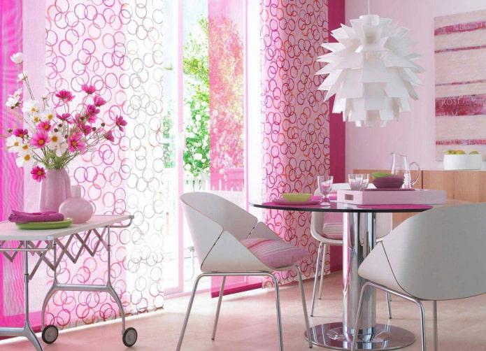 розовые японские панели в интерьере