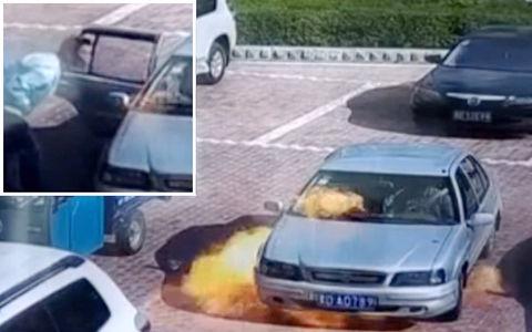 Китаец попытался задуть(!) горящий автомобиль