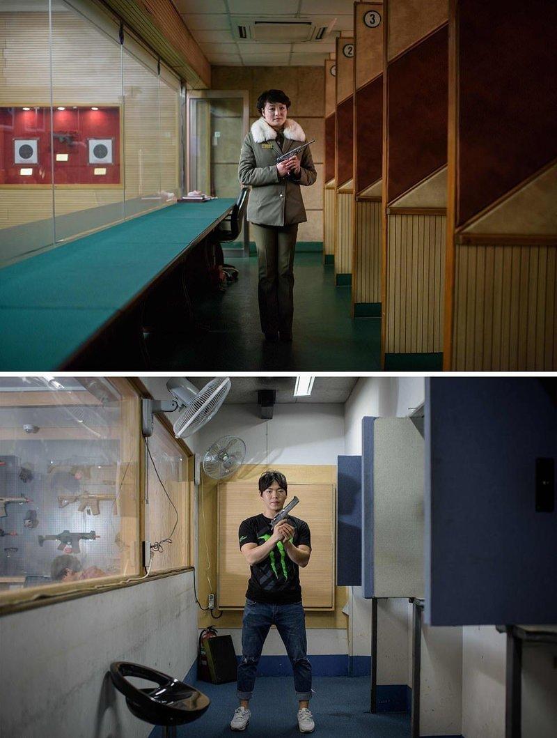 Вверху — инструктор по стрельбе позирует на стрельбище в Пхеньяне, где и работает. Внизу — инструктор по стрельбе в Сеуле кндр, люди, северная корея, сравнение, страны, южная корея