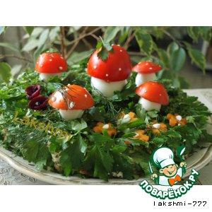 Быстрый грибной торт