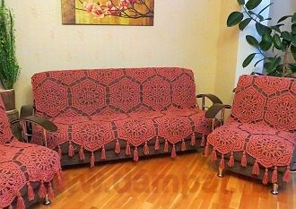 Вязаное покрывало на диван: мастер-класс