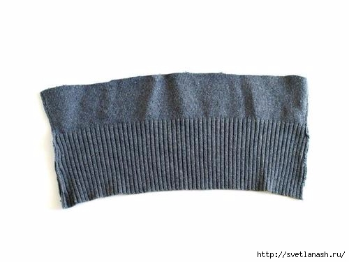 Теплая  повязка на голову из старого свитера женские хобби