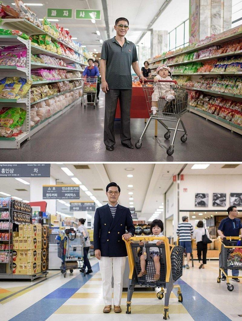 Вверху — 34-летний мужчин позирует со своей дочерью в супермаркете в Пхеньяне. Внизу — 35-летний мужчина со своим сыном в супермаркете Бунданг-гу, недалеко от Сеула кндр, люди, северная корея, сравнение, страны, южная корея