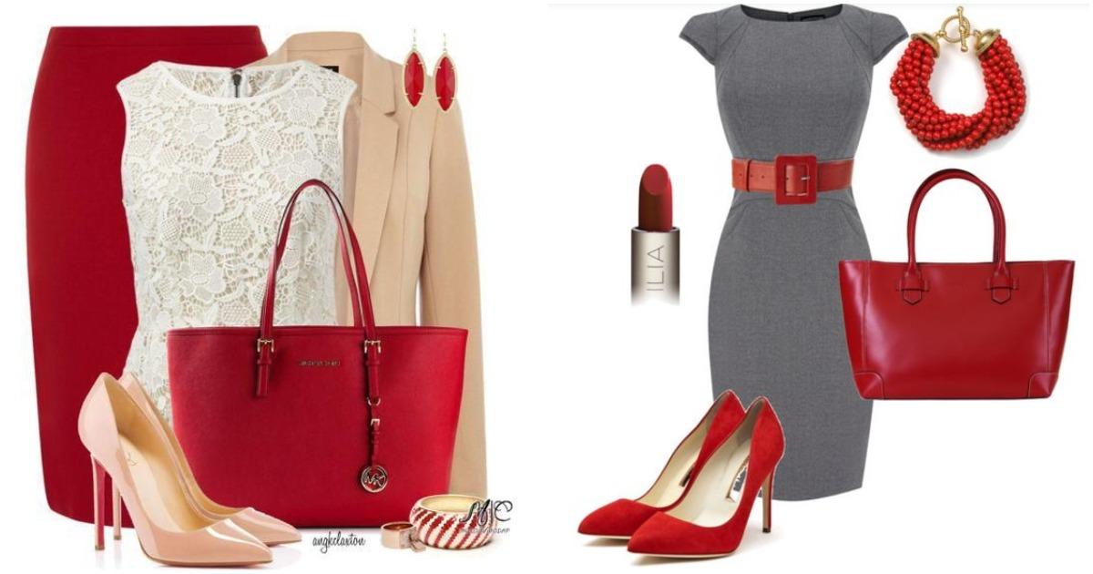 Идея для офисного дресс-кода: красный цвет в деталях