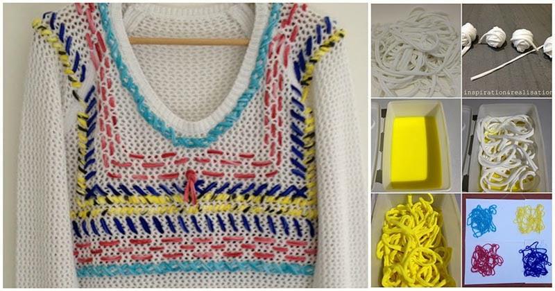 Вышиваем свитер… футболками: оригинальный декор одежды за копейки