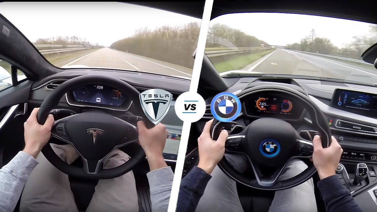 Неожиданный конец гонки Tesla Model S и BMW M5