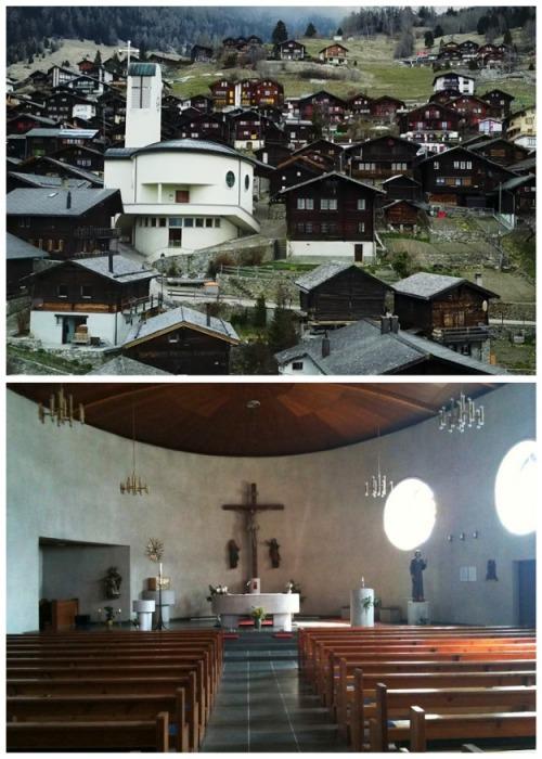 В горной деревушке Альбинен есть своя церковь (Швейцария). | Фото: infomaniya.com.