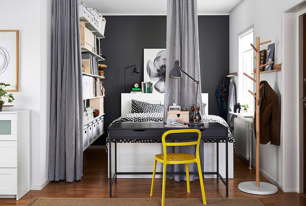 Дизайнерский желтый стул как яркий элемент декора в интерьере спальни