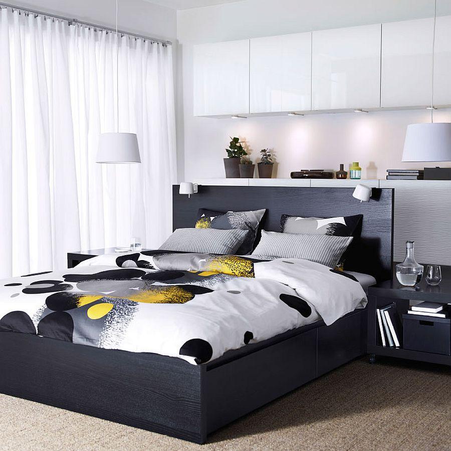 Дизайнерское постельное белье в круги в интерьере спальни