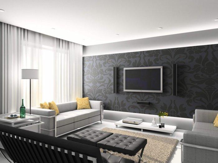 Для гостиной, оформленной в классическом современном направлении, характерно использование любых цветов и оттенков.