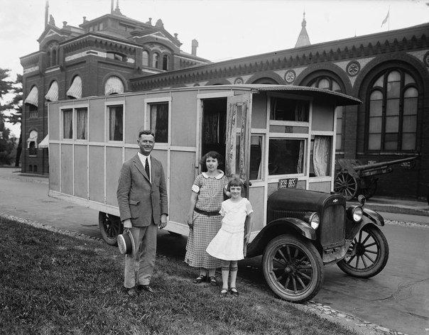 Дом на колёсах, США, 1920-е годы история, ретро, фотографии
