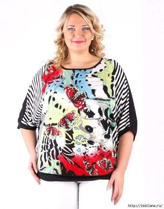 Блузка с коротким рукавом на основе выкройки платья для полных девушек