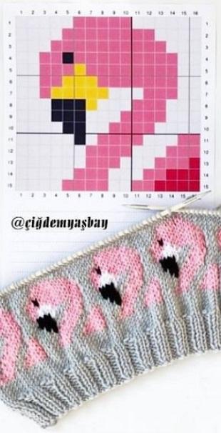 Узор Розовый фламинго для вязания или вышивки