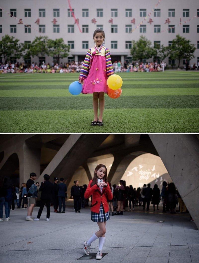 Верхнее фото — 9-летняя девочка позирует для портрета после выступления на празднике в Пхеньяне, посвященном Всемирному дню ребенка. Внизу — 10-летняя девочка после выступления на Неделе моды в Сеуле кндр, люди, северная корея, сравнение, страны, южная корея