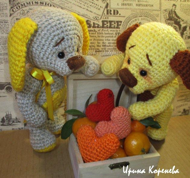 Влюбленные собачки в стиле Benesak. Описание вязания