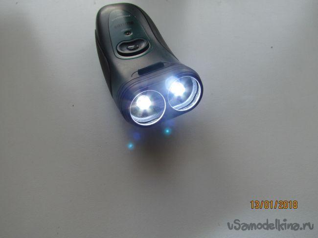 Светодиодный фонарик из старой электробритвы