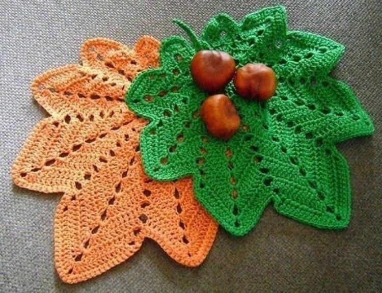 Вязание крючком — украшаем дом и одежду осенними листьями (схемы)