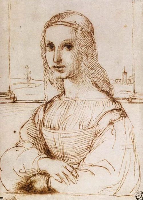 Рисунок Рафаэля по мотивам портрета Моны Лизы.